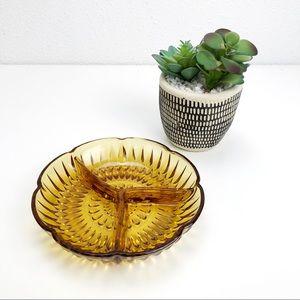 Vintage Amber Glass Three Section Relish Dish